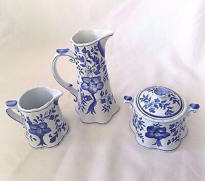 LOT 3pc Vintage Andrea by Sadek Porcelain Teapot Sugar Creamer Hot Chocolate Set