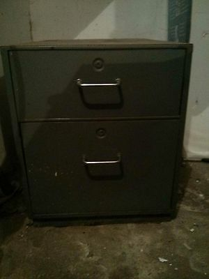 Old Style Grey Metal Filing Cabinet