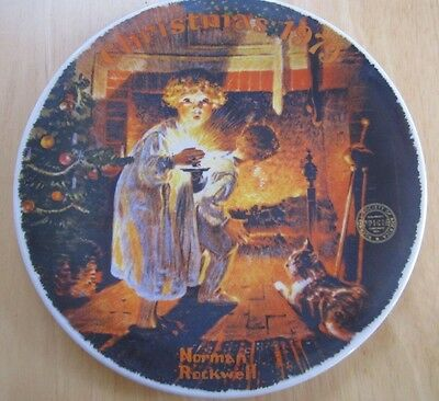 """1979 Norman Rockwell Christmas Plate, """"Somebody's Up There"""""""