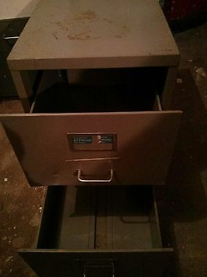 Old Style Metal Grey  Two  Drawer Filing Cabinet
