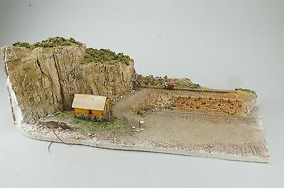 Sn3 Scale Handmade Model Scenery for Layout Cliff w/ Mine Tunnel, Track, & House