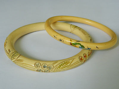 X2 Vintage Art Deco Painted and Carved Celluloid Stacking Bangles