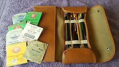 """Vintage """"leatherette"""" Float Wallet With Old Floats & Hook Packets"""