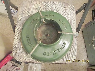 Vintage Chritmas Tree Stand Cast Iron Merry Chritmas Happy New Year Excellent