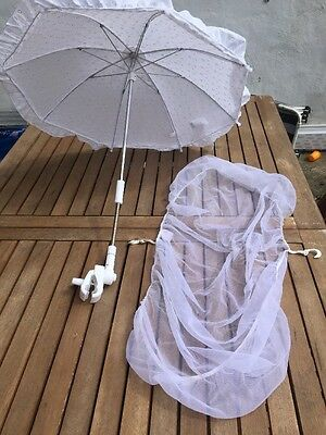 Baby Summer Parasol White & Fly Mosquito Net