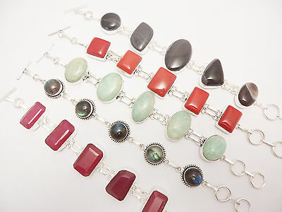 Fantastic New Gemstone Wholesale Lot 5Pcs 925 Sterling Silver Overlay Bracelets