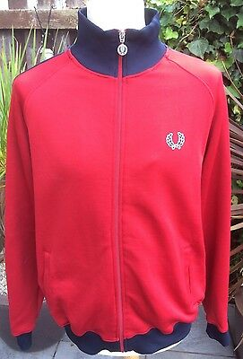 VINTAGE 80s RETRO RED & BLUE TRIM FRED PERRY TRACK TOP L