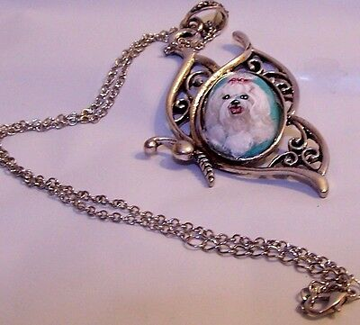 """hand painted Maltese on genuine gemstone pendant 18"""" silver tone chain  necklace"""