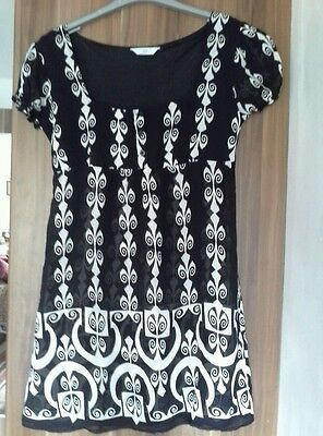 New Look black and white long top short dress size 12