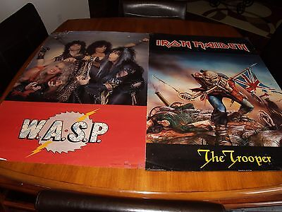 1984 Iron Maiden & WASP Poster Lot of 2 **VTG/Eddie/Official/No Metallica**