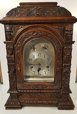 Large Junghans German Green Man Carved Bracket Clock