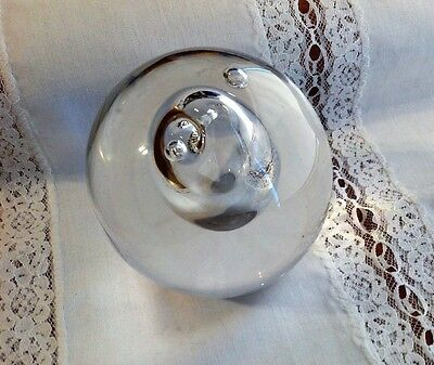 Vintage 1980 Swedish Art Glass Signed Air Bubbles Paperweight
