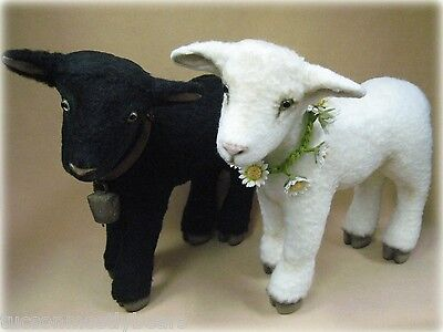 R John Wright Springtime Lambs with voices, awesome nubby mohair, actual photo