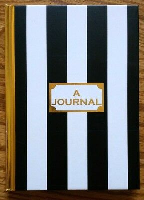 """Journal Notepad Notebook 80 Lined Sheets 5"""" x 7"""" ~ A Journal Black White Gold"""