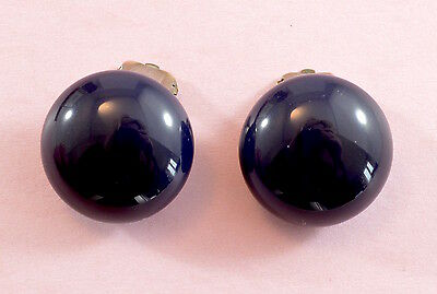 Vintage 1950's-60's large navy blue glass button clip on earrings