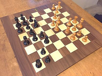 * GENUINE EBONY & BOX WOOD 3 58 King chess set DRUEKE #64 board 2 14 squares*