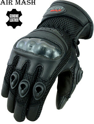 Mens Vented Hard Knuckle Perforated Summer Motorbike Motorcycle Leather Gloves
