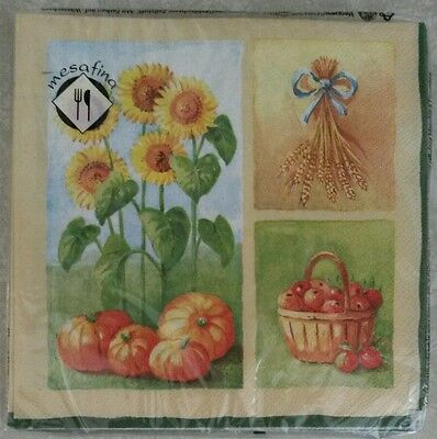 """20 ct 3 ply Paper Party Lunch Napkins 13"""" ~ Fall Sunflowers Pumpkins Apples"""