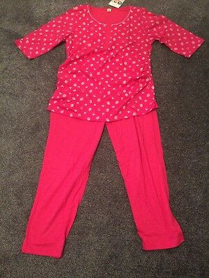 Pink 3/4 Length Maternity Pyjamas Size Large 12-14