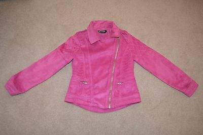 Girl's faux suede pink biker jacket - age 7 years