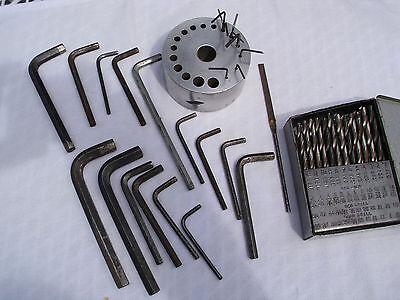 Huge 77 Piece Lot - MACHINIST  ALLEN Wrench Set w/ Stand  & HUOT Drill Bit TOOLS