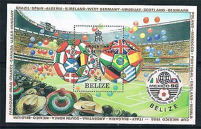 Belize 1986 World Cup Winners ovpt MS SG 949 MNH