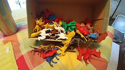Vintage Lot Of 50s-60s Plastic And Other Mixed Material Toy Animals over 100