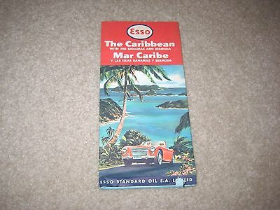 1962 Esso Road Map The Caribbean With Bahamas And Bermuda