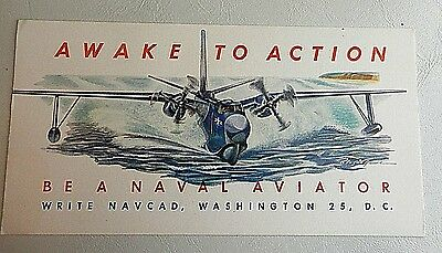 """Ink Blotter """"Be a Naval Aviator"""" Awake to Action NAVCAD 1941"""