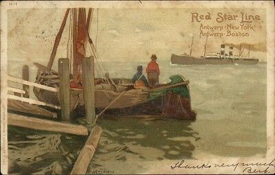 Red Star Line Steamship Cassiers H-1 c1905 Used Postcard