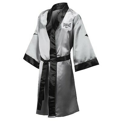 New Everlast Stock Satin Boxing Full Length Robe Size: Large Color: Silver