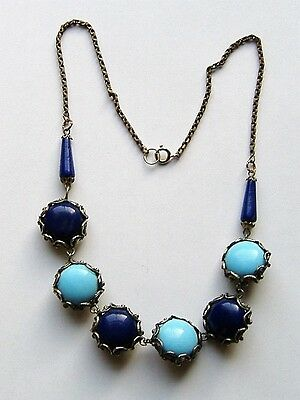 Art Deco Rare Reversable Day And Night Look Glass Necklace