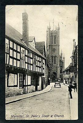 Worcester, St. Peter's Street & Church. printed card posted 1908