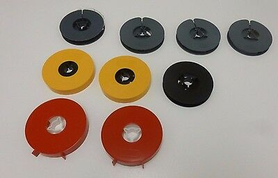 9 Empty Reels Spools for Super 8 Cine Film 50 ft with Covers Boots Kodak Ilford