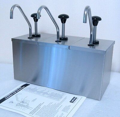 Carlisle Insulated Triple 3 Condiment Dispenser Stainless Steel Pump Station