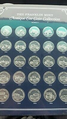1968-1969 Franklin Mint Antique Car Coin Collection,25 coins,cardboard display