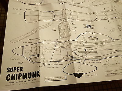 Plan + instruction sheet--SIG Super Chipmunk--C/L stunt up to .40 cu.in.
