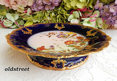 Gorgeous Limoges Porcelain Footed Compote ~ Tazza ~ Cobalt ~ Gold Encrusted