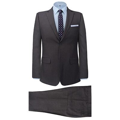 #Men's 2 Piece Business Suit Jacket Trousers Formal Casual Striped Grey Size 50
