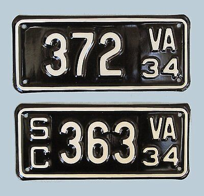 1934 Virginia motorcycle and side car license plates