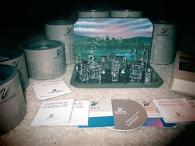 Swarovski Crystal SILVER CITY Figurine 7/11 pc. MIB COA RARE Retired ERV. $775++
