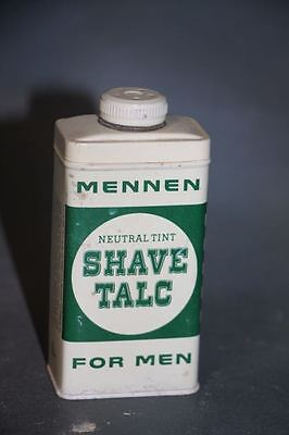 Vintage Mennen Shave Talc Tin for Men Neutral Tint medicine Cabinet Aftershave