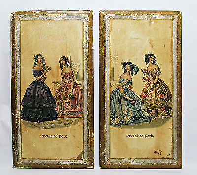 Antique Italian Gesso Vintage French Fashion Plaques Boards Beautiful Pair Rare