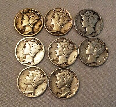 Assorted Lot of 8 Mercury Dimes Silver 1934-1945 ~ Fill your album !!