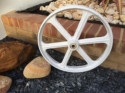 Vintage Rustic Cast Iron Wheel Garden Feature