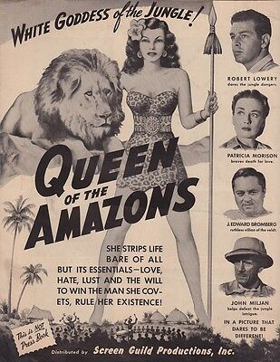 Queen Of The Amazons (1947) Jungle Exploitation Flier (Not Pressbook) ~ See