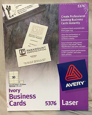 Avery 5376 Ivory Uncoated Business Cards for Laser Printers, Pack of 250