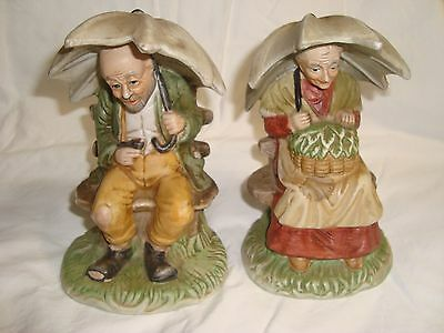 Elderly Man and Woman Figurine with Umbrella's