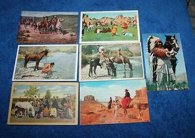 7 Apache &Other Tribes With Horse's 2  Fred Harvey 1 By Chas Craig Post Cards