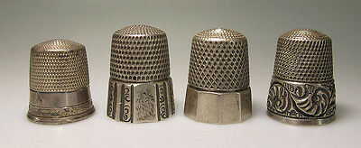 Antique 19th c Mixed Lot of (4) Sterling Silver Sewing Thimbles Simon Bro #5 yqz